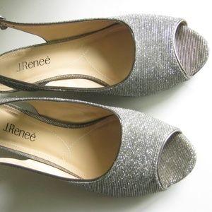 J. Renee Women's Jenvey Low Heel Slingback Silver